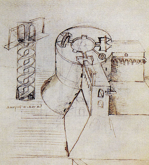 Эскиз крепостной башни и винтовой лестницы. Леонардо да Винчи.