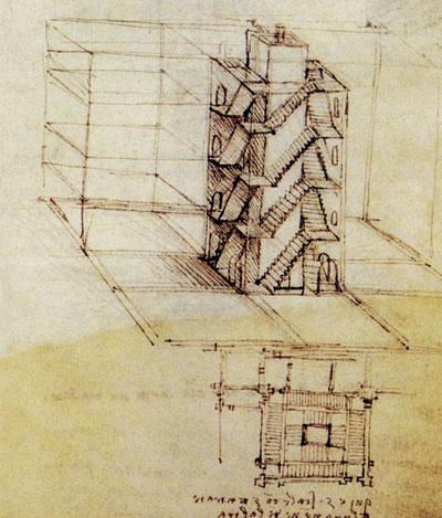 Здание-лабиринт с множеством лестниц, входов и выходов. Леонардо да Винчи.