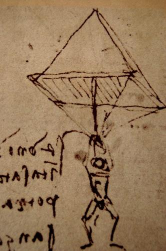 Эскиз парашюта Леонардо да Винчи