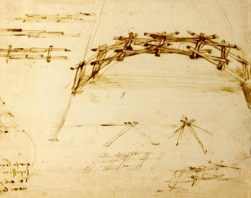 Эскиз самоподдерживающегося моста Леонардо да Винчи