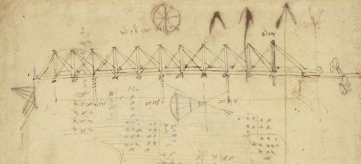 Эскиз подвесного моста Леонардо да Винчи