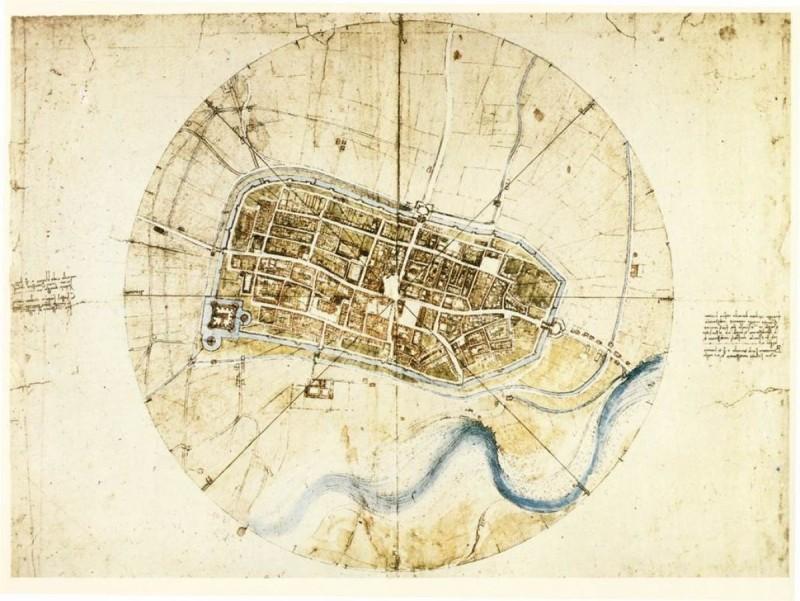 Карта города будущего Леонардо да Винчи