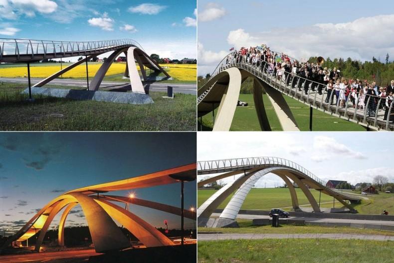 Уменьшенная копия моста Леонардо да Винчи в Норвегии