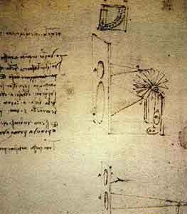 Эскиз анемометра Леонардо да Винчи с конусами