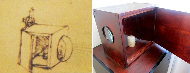 Эскиз и модель прожектора Леонардо да Винчи