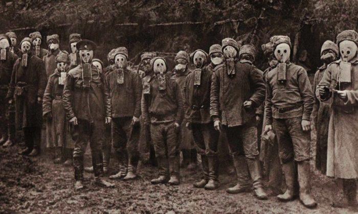 Войска в противогазе Зелинского
