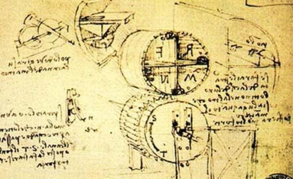 Эскиз машины для сжатия и направления возудха Леонардо да Винчи