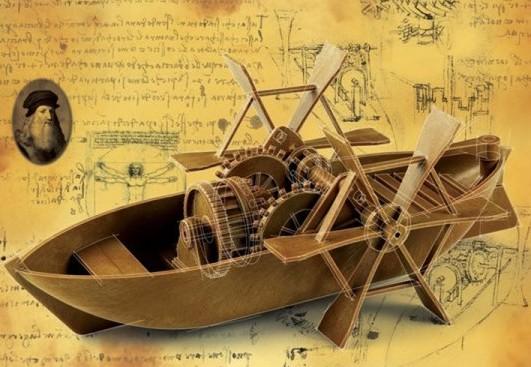 Лодка с гребными колёсами Леонардо