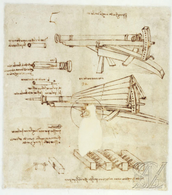 Пушка с подъёмной дугой Леонардо да Винчи