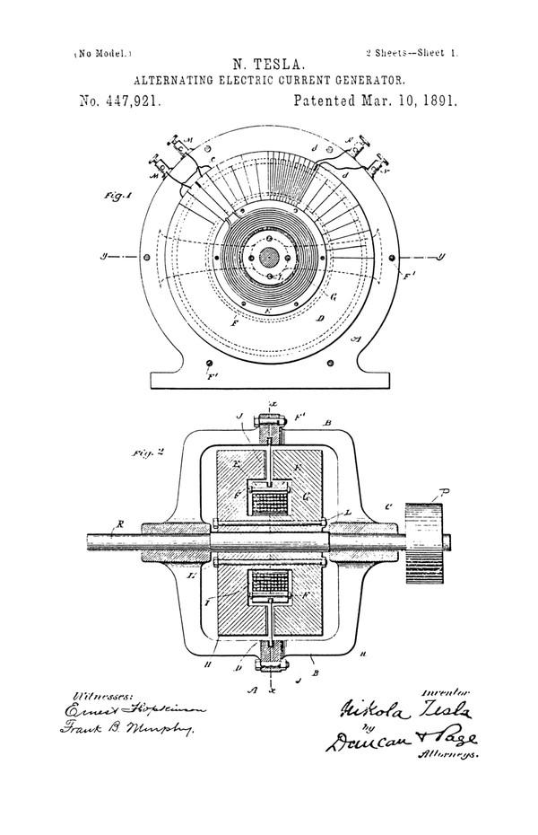 Патент Теслы на генератор переменного тока